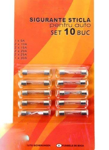 Set 10 Stück PKW Auto KFZ Glas Sicherungen Stabsicherungen Feinsicherung 5-30A