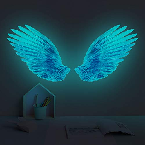 Creative Glow in The Dark Angel Wings Wall Decal Decor Removable DIY Fluorescence Bird Feather Wall Stickers 3D Home Wall Art for Kids Girl Boys Bedroom Living Room Nursery Bathroom Playroom (Blue)