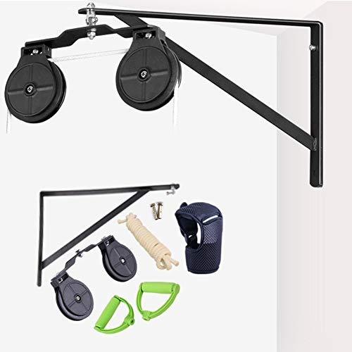 Polea de cuerda montado en la pared,cuerda elástica para rehabilitación de hombro(dos poleas de plástico)