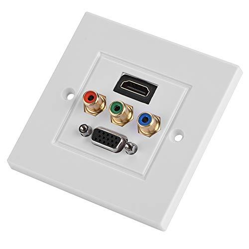 HDMI USB VGA 3RCA Drei-in-Eins Integrierte Multimedia-Wandtafel Audio-Video-Adapterbuchse Kabelstecker Steckdose Steckdose Verteilung und Organisation Multimedia-Wandplatten Steckdosenleiste 85 * 85 m