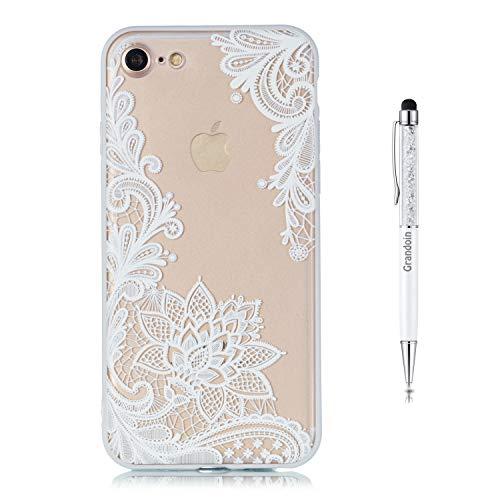 Grandoin iPhone 8 Hülle,iPhone 7 Hülle, 2 in 1 Ultra Dünne Schale Ultra Dünn Weich TPU Bumper Hülle Silikon Schutzhülle Handy für Apple iPhone 8 / iPhone 7 4.7 Zoll (weißer Lotus)