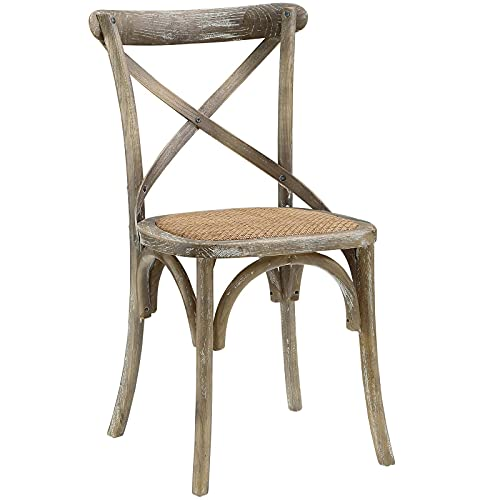 Modway Gear Rustic Modern Farmhouse Elm Wood Rattan Dining Chair in Gray