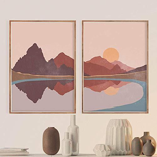 Paisaje Abstracto Escena de Sol y montaña Boho Impresiones en Lienzo Pintura Arte de la Pared Imágenes Carteles para la Sala de Estar Decoración del hogar -20x28 Pulgadas sin Marco