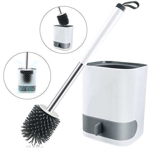 S SVUENCIO Toilet Brush and Holder Set, Wall-Hung Toilet Bowl Brush and Holder Without Punching,Toilet Brush with Square Base Holder and Drawer Type Water Receiving Tray