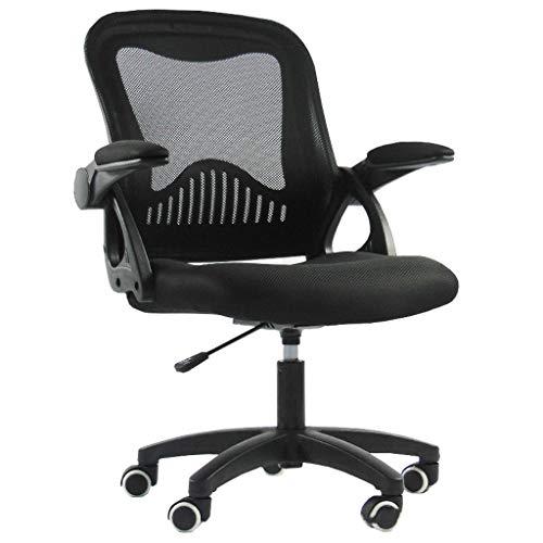 Computerstoel van mesh, ergonomisch design met middenrugleuning draaibare bureaustoel met inklapbare armleuning voor het kantoor en thuis zwart