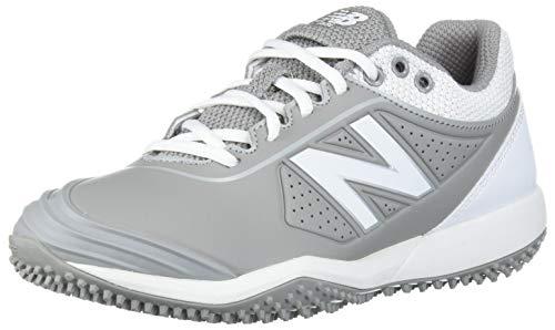 New Balance Women's Fuse V2 Turf Softball Shoe, Grey/White, 8.5
