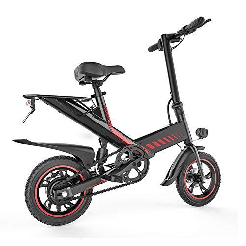 Adulto 400 w Aleación de aluminio Bicicleta eléctrica inteligente 14 pulgadas Mini plegable Coche eléctrico portátil 48 v 7.5ah Scooter asistido por batería de litio doble para padres e hijos,Negro