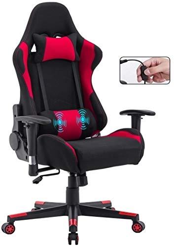 Delman Gamings Stuhl Racing Stuhl Bürostuhl Computerstuhl Massagefunktion Chefsessel Ergonomisches Design 0032 (Rot)