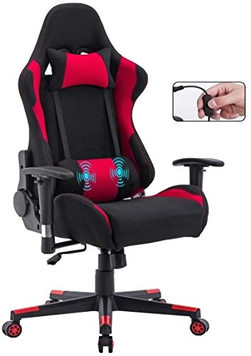 Delman Gamings Stuhl Racing Stuhl Bürostuhl Computerstuhl Massagefunktion Chefsessel Ergonomisches Design 0032 (Rot)