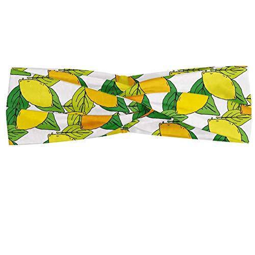 ABAKUHAUS citroenen Hoofdband, Vitamine C Citrus Drawing, Elastische en Zachte Bandana voor Dames, voor Sport en Dagelijks Gebruik, Yellow Earth Yellow