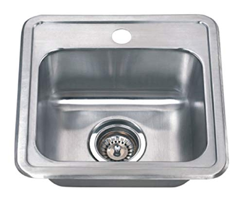 Wells Sinkware CMT1515-6-1 22 gauge Single Bowl Top-Mount Kitchen Sink Package, Stainless Steel