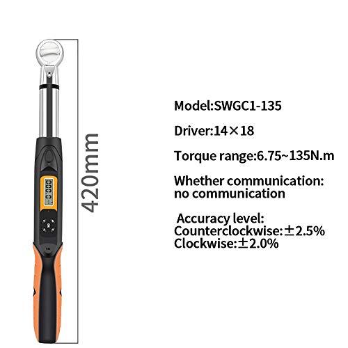 FenNGG elektronische digitale momentsleutel, programmeerbare digitale momentsleutel 3/8 inch (6,75-135) NM