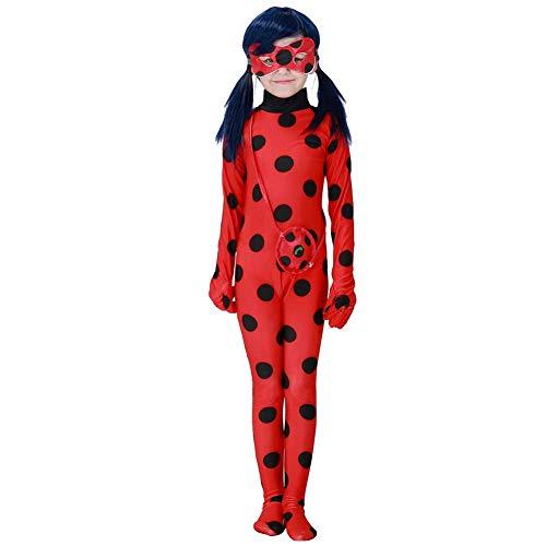 Tomlyws Ladybug Disfraz de mariquita para niñas, Halloween, carnaval, mono, fiesta, cosplay, rojo con lunares negros, juego de 3, mono, máscara, bolsa XL