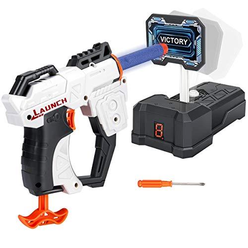CestMall Kit de Juegos de Disparos, Pistola de Espuma de Juguete y Objetivo de Disparo Digital para Nerf, Juguetes electrónicos de puntuación con reinicio automático