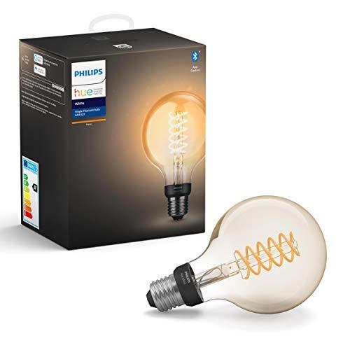 Philips Hue Bombilla Inteligente LED E27, con Bluetooth, Filamento Globo G93, Luz Blanca Cálida + Interruptor Smart Button, Compatible con Alexa y Google Home
