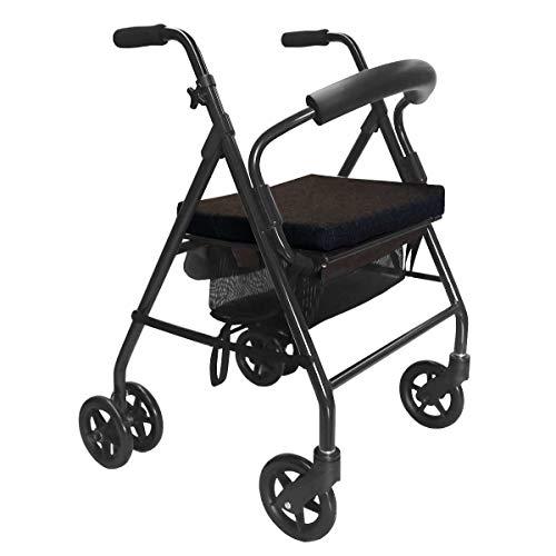KMINA - Andador para ancianos, Andador plegable, Andadores para ancianos, Andadores adultos 4 ruedas, Andador para ancianos con asiento, Andador con frenos por presión, COMFORT Negro Freno Presión