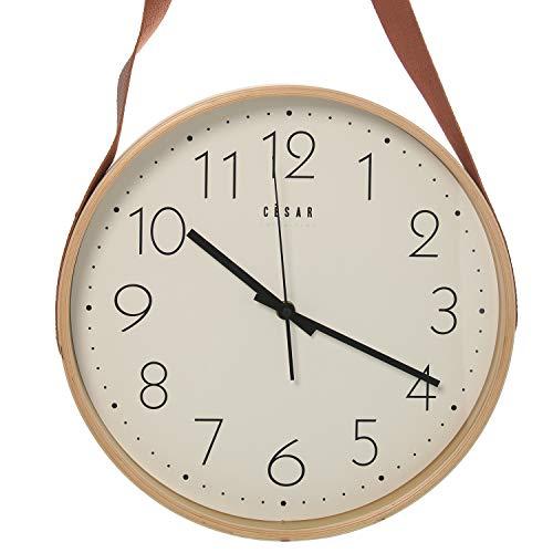 DonRegaloWeb Horloge Murale Ronde en Bois avec Crochet en Similicuir Couleur hêtre 32 x 4,5 x 53 cm