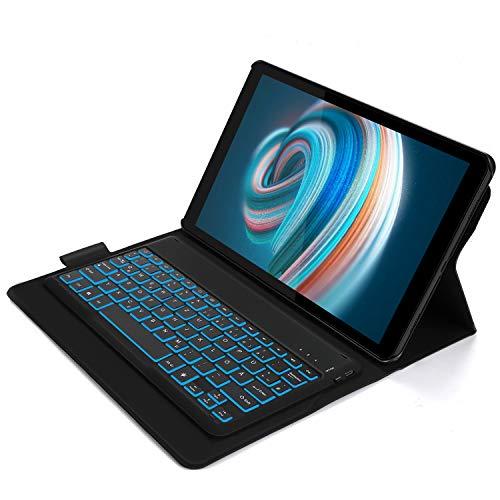 Jelly Comb Tastatur Hülle für Samsung Galaxy Tab A 10.5, wiederaufladbare beleuchte Bluetooth Tastatur(QWERTZ Layout) mit Ultra-Dünn Hülle für Samsung Galaxy Tab A 10.5, Schwarz