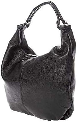 Italian Black Calf Leather Hobo Shoulder Bag by Vittoria Pacini