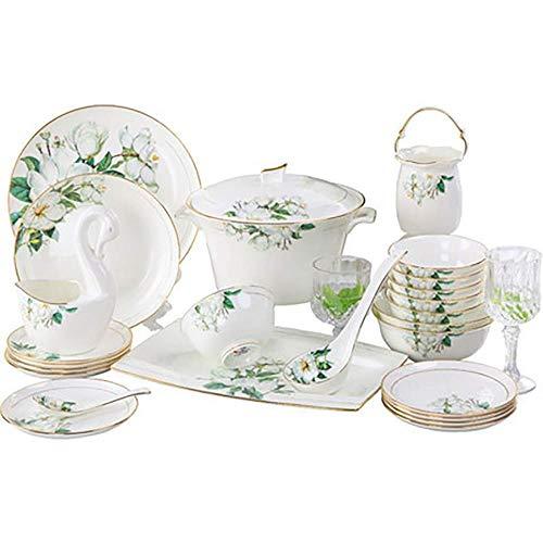 60 acciones vajilla, blanco marfil vajilla de porcelana, leche, vajilla blanco, plato de porcelana, cuencos de cerámica, planchas de cocción platos