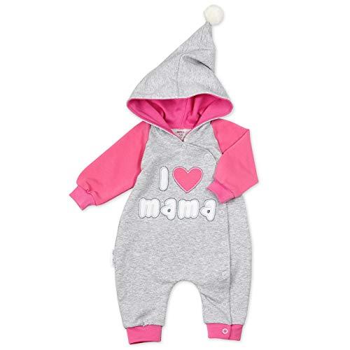 Baby Sweets Overall Mädchen grau pink | Motiv: I Love Mama | Babystrampler mit Kapuze für Neugeborene & Kleinkinder | Größe: 3-6 Monate (68)…