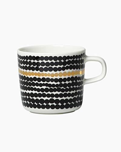 Marimekko - Kaffeetasse - Tasse - Siirtolapuutarha - Weiß-Schwarz-Gold - 200 ml