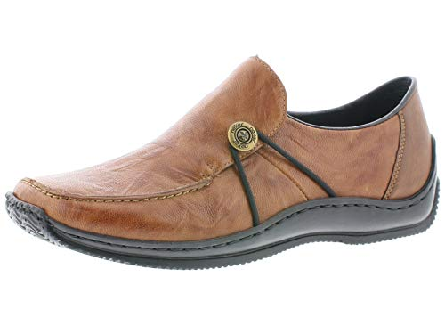 Rieker Damen SlipperMokassins L1781, Frauen Slipper, Freizeit leger schlüpfschuh Slip-on modisch freizeitschuh,Cuoio/Chestnut,40 EU / 6.5 UK