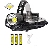 XLENTGEN Linterna Frontal LED XHP70 USB Recargable Linterna Cabeza Alta Potencia 10000 Lúmenes Impermeable 3 Modos con Batería para Camping Excursión Pesca Caza Ciclismo Acampar Cenderismo Interiores