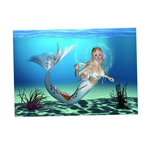 SM SunniMix PVC Hintergrund Poster Rückwandfolie Aquarium Terrarium Deko - Meerjungfrau, XS