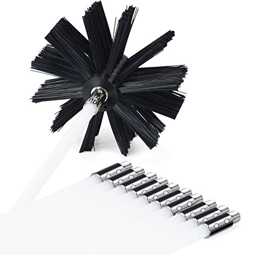 PetOde 23 Feet Dryer Vent Cleaner kit Dryer Vent Cleaning Brush Lint Remover Fireplace Chimney Brushes Synthetic Brush Head Use with or Without a Power Drill