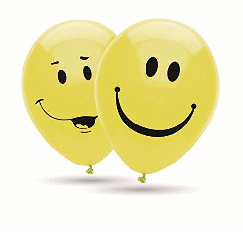 Emoji Smiley Luftballons, 8 große Ballons 2 Motive mit 2-seitigem Druck, 30cm Durchmesser, 12