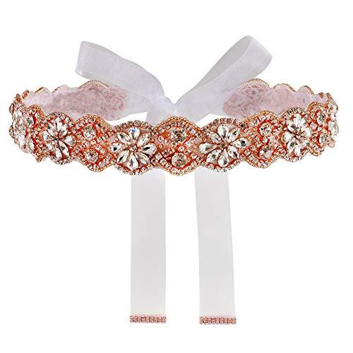 Yanstar Handmade Rose Gold Rhinestone Wedding Bridal Belts Sash Crystal Belt White Organza Ribbon for Bridesmaid Prom Gowns