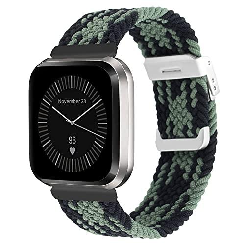 Vozehui Kompatibel mit Fitbit Versa Armband/Fitbit Versa 2 Armband, elastisch atmungsaktives, Einstellbar weiches Nylon Strick Sportersatzband für Fitbit Versa 2/Fitbit Versa/Versa Lite, Damen Herren