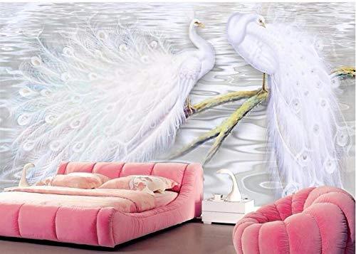 Papel Tapiz Fotográfico 3D Pavo real animal blanco Moderna Fotomurales Decoración De Pared Sala Cuarto Oficina Salón 300 cm x210 cm