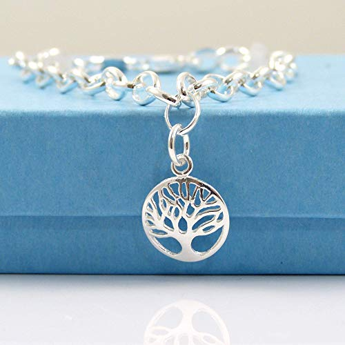 925 Sterling Silver Tree of Life Bracelet - Gift Boxed - Size Medium