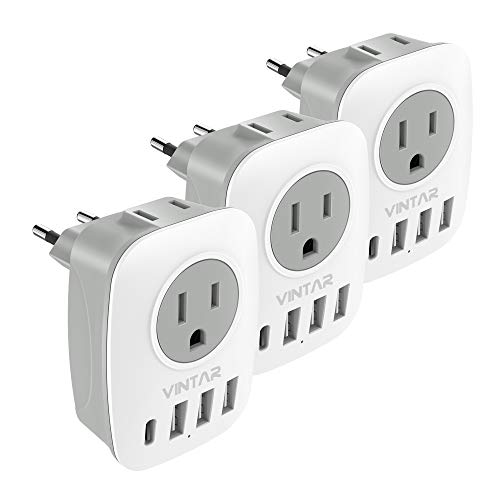 [3-Pack] European Travel Plug Adapter, VINTAR International Power Adaptor with 2 American Outlets, 1 USB C and 3 USB Ports, 6 in 1 European Plug Adapter for France, German, Italy, Spain (Type C)