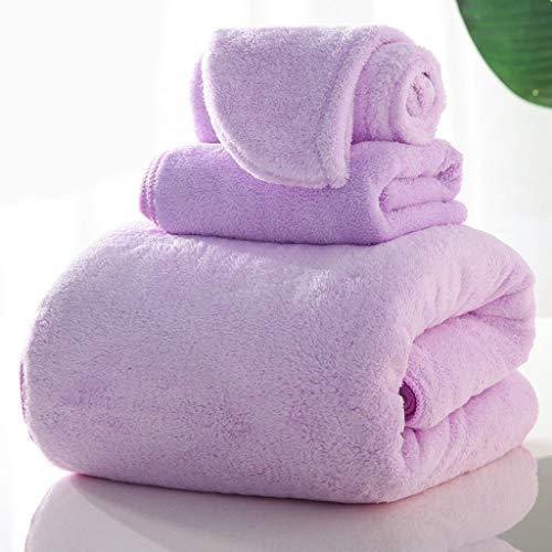 LLKK Juego de toallas de baño y gorro de ducha (1 toalla de baño + 1 toalla+1 toalla de sombrero), grueso y suave, 100% algodón es más absorbente (3 piezas)