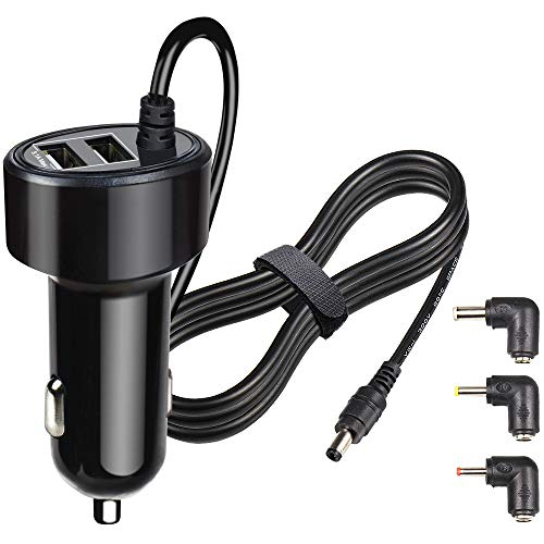 FouceClaus Car Charger for RCA, Philips, DBPOWER, Sylvania, UEME, APEMAN Portable DVD Player, 12V Car Cigarette Plug Portable DVD Player Power Cord with Dual USB Ports (6.6Ft Cable)