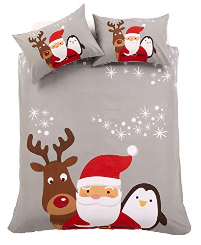 EHD Christmas Friends Pattern Luxurious Duvet Cover Sets Quilt Cover Sets Xmas Style Bedding Sets By Olivia Rocco (Single)