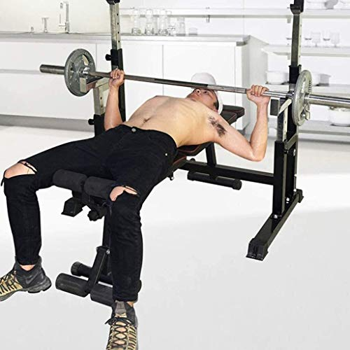 DFKDGL Verstellbare Bänke Squat Rack Multifunktionales Squat Rack Professionelle Bank Bank Home Fitness Gewichtheben Bett, Größe: 120 * 70 * 1 für Home Gym