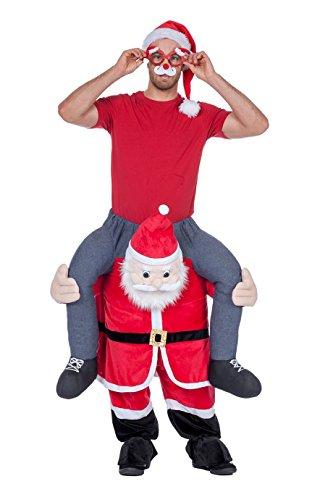shoperama Divertido disfraz de cerdito con espalda de jinete para despedida de soltero, modelo de Papá Noel