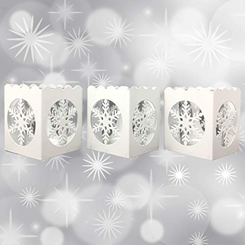 White Snowflake Christmas Candle Holders - Set of 3 White Metal Candle Holders with a Snowflake Cutout - Tea Light or Votive Holders - Holiday Holders