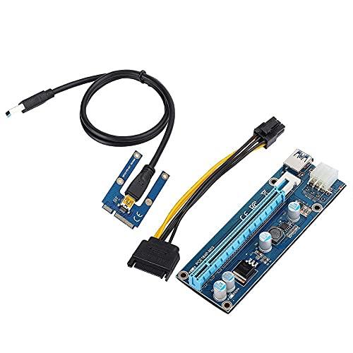 MiniPCI-E16Xアダプター PCI-E 16x に変換 エクステンダー マイニング USB PCI-E Express アダプター カード PCI ExpressPCI-E ミニ PCI-EからPCI エクスプレス ミニPCI-E16xアダプター エクスプレス USBケーブルと SATA15Pin-6Pin電源ケーブル付き 固定が簡単