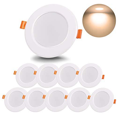 Faretti LED da Incasso per cartongesso, 8W Impermeabile Lampada da incasso, 800 Lumen Equivalenti a 80W, Bianca Calda 230V Non Dimmerabile (Pack da 10)