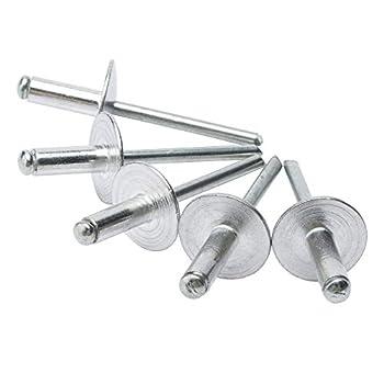 ISPINNER 50pcs 3/16  x 1/2  Large Flange Aluminum Blind Rivets 4.8 x 12mm Pop Rivets  Silver