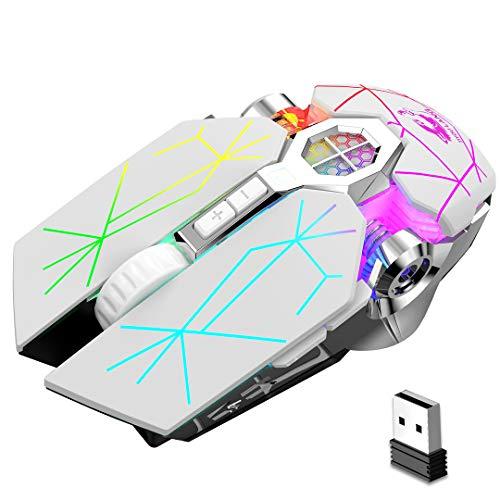 Bluetooth Gaming Mouse, wiederaufladbare drahtlose Maus, LED Rainbow Backlit 2400dpi Silent Mice, für Laptop-PC Windows Mac Linux OSX Notebook Home Office-Spiele (weiß)