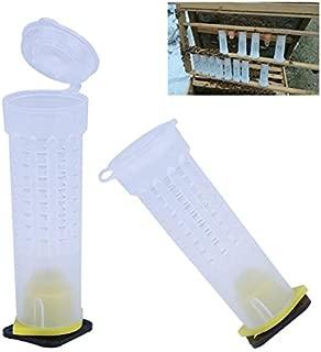 Floratek 20 Sets Bee Queen Cage Beekeeping Supplies Queen Rearing Cups Equipment Plastic Queen Bee Hair Roller Cages Beekeeper Equipment Tools