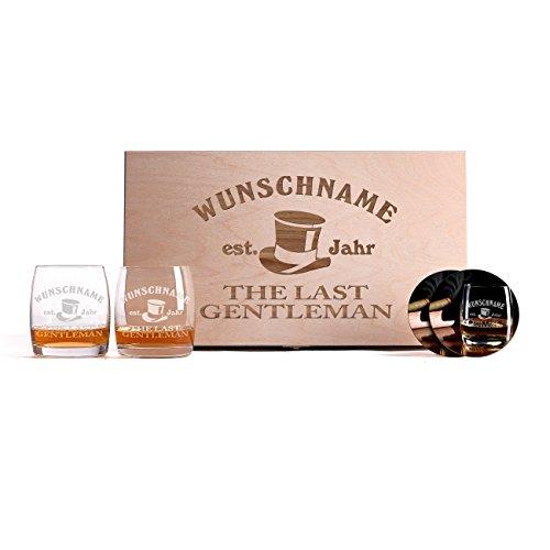 Privatglas 2er Set Whiskeygläser mit Gravur + bedruckten Untersetzer und Premiumbox - die Geschenkidee für echte Gentleman -