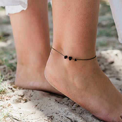 Black Onyx Beaded Chain Anklet in Bronze