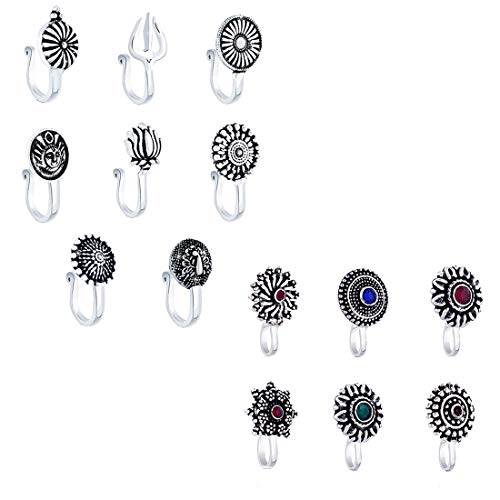 Yellow Chimes Beautiful Classic Designs 15 Pcs Combo Silver Oxidized Finishing without Piercing Nose Pins for Women and Girls